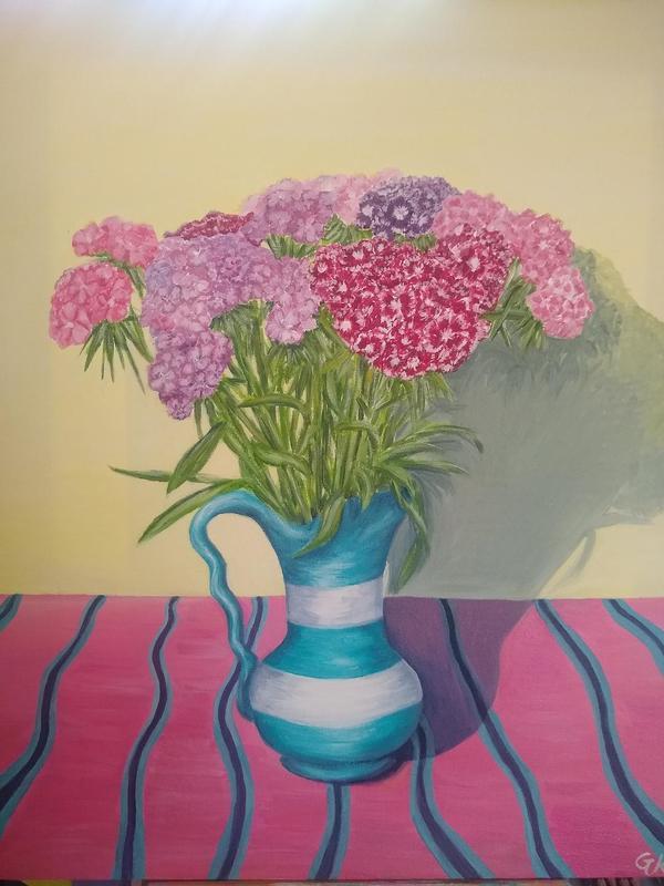 Sweet Williams, acrylic on canvas, 40 x 50 cm