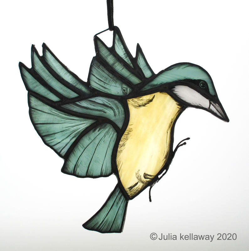 Nuthatch in flight, copper-foiled painted glass, 12x14cm