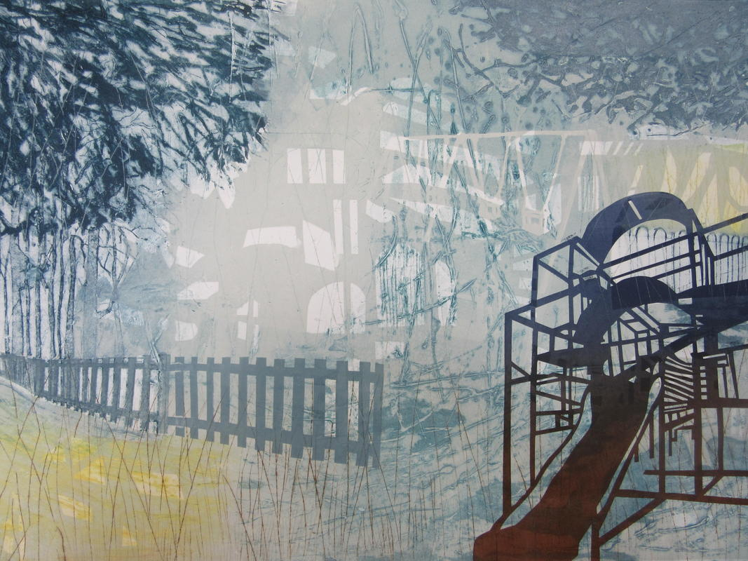 Playpark II Collagraph and block print 86 x 62 cms