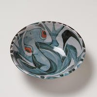 """7""""  Earthenware bowl with a frog design"""