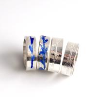 Cherry sprig rings - Silver rings with textured and enamelled floral details