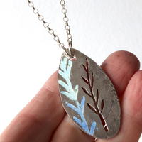 Leaf pendant - Oxidised silver with cut out and enamelled leaf design