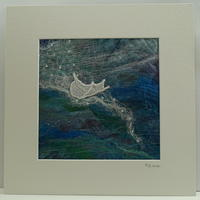 Floating Feather / Textile in Black Frame / 33cm sq