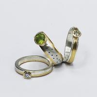 New from old - silver rings with old gold, diamonds and peridot