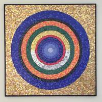 Spheres of the Cosmos/Smalti glass, real gold tiles on wood board/ 79 x 79 x 2.5cm