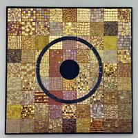 Void-BeginningEnd/ Real gold tiles, marble, mixed media, mounted on board/ 79 x 79 x 2.5cm
