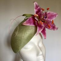 Oriental Lily - Parasisal straw with hand painted silk Lily and Ostrich quill