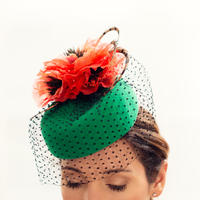 Orange Poppy - Fur felt with silk poppies, veiling and pheasant feathers