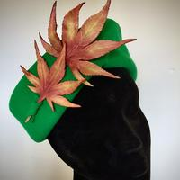 Autumn Leaves - Fur felt with hand painted silk and leather leaves