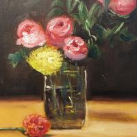 'Vase of Flowers'  Oil on Canvas Board. (51 x 41cm)