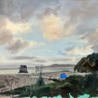 Title: Carlyon Bay, Bodmin. Minature oil painting. 23cm x 17cm Framed £130