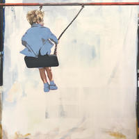 Title: Look how high! 1 of 2 large oil on canvas portraits.
