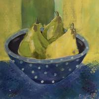 Three pears in blue bowl - Acrylic on paper 40cm x 40cm