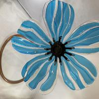 """Blue Poppy.Fused Glass/approx 18"""" tall"""