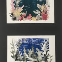 Bleaching of the Coral Reefs, monoprint collage