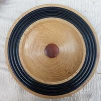 """Oak black stained ribbed bowl 14"""" x 3"""""""