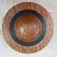 """Oak & stained black bowl 14"""" x 3"""""""