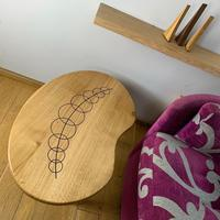 Bean Coffee table in Oak with Walnut inlay1000mm x 500mm x 300mm