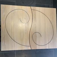 Spiral Tables in Oak with Ebony inlay 600mm x 700mmx 300mm