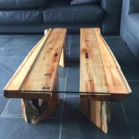 Coffee Table in Yew and Glass 750mm x 1300mm x 300mm