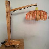 Table Light with steam bent shade in Yew and Walnut 450mm x 450mm x 300mm