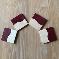 Wave Coasters in Purple Heart and Sycamore 100mm x 100mm x 10mm