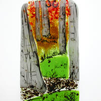 Birch Walk: fused glass, painted