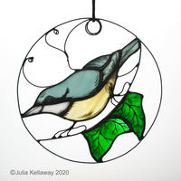 Nuthatch in the Ivy: painted glass, copper-foil, 14cm