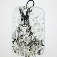 Winter Hare: fused glass, painted