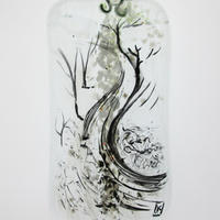 Winter Lane: fused glass, painted