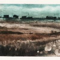 Dungeness:  Collagraph print