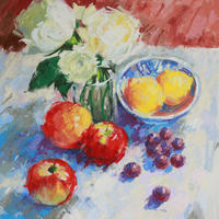 """Roses and Apples/Pastel/18"""" x 14"""""""