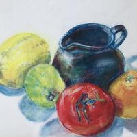 Favourite Jug with Fruit, 20.5 x 28cm pastel on paper