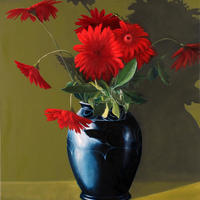 Victoria's Black Vase with Red Gerberas/ Oil on Canvas/1000mm x 1000mm