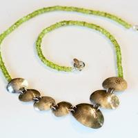 Peridot, textured silver necklace