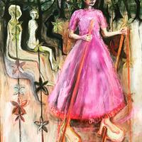 The Stilt Walkers and the Wallpaper. Oil on Gesso Panel. 122x98cm.