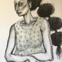 Woman with Heavy Hair. Charcoal, chalk on Paper. 82x57cm