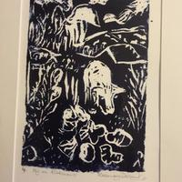 Help!The Pig's Out! Original Lino Print 21x16 with A4 mount from £45