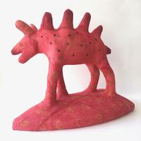 'Fire Creature', textile and mixed media, 29 x 33 x 18 cms
