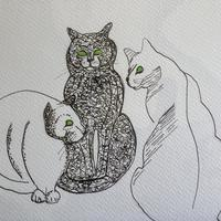 Three Cats in ink A4