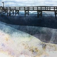 Nocturnal Pier. Mixed Media Print.