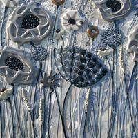 Blue & Grey Meadow - 120cm x 57cm - Beeswax and Glass on Board