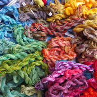Range of threads dyed at a workshop