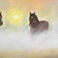 Three horses in the mist - pastels on sandpaper