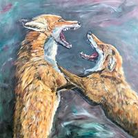 Boxing Foxes - Oil on canvas 76cm x 76cm