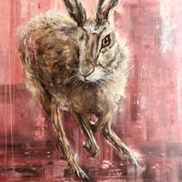 Mad Pink Hare - Oil on canvas 80cm x 100cm
