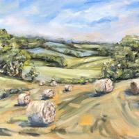 Round Bales & Linseed - Oil on board 25cm x 30cm