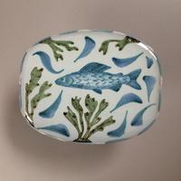 Oval Dish with Grayling, earthenware, 25 x 20cm