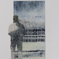 Absorbing the View l, etching, collagraph, chine collé