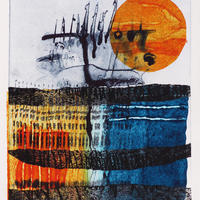 Reflections, etching, collagraph, chine collé and monotype